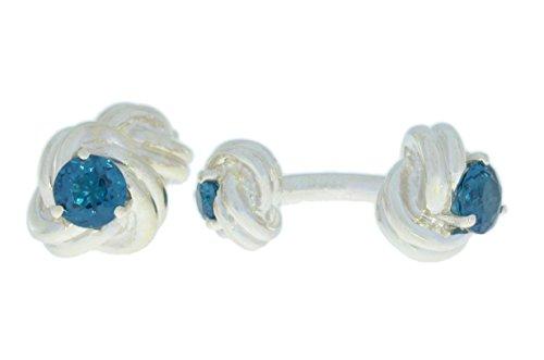 2,5 carats Nœud imitation topaze bleu Londres boutons de manchette plaqué rhodium