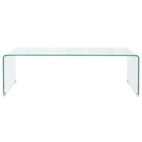 Festnight Table Basse Verre trempé Transparent 100 cm