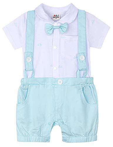 A&J DESIGN Baby Straps Hose Outfits Junge Gentleman Strampler (Hellblau, 12-18 Monate)