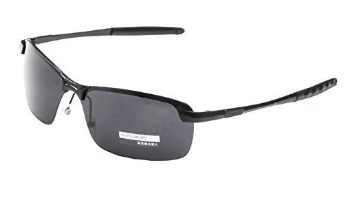 Occhiali da sole sportivi per uomo corsa ciclismo sci polarizzati uv400 (montatura nera-lente grigia)