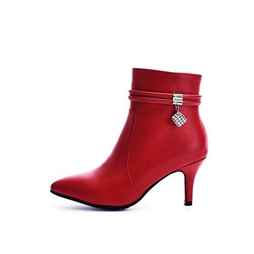 VogueZone009 Donna Finta Pelle Scamosciata Bassa Altezza Chiodato Cerniera Tacco Alto Stivali Rosso