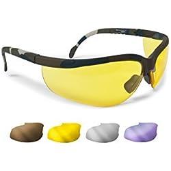 Gafas Protectoras Balistica Tacticas - Gafas de Tiro Caza para Disparar y Softair con 4 lentes Anti-Vaho Incluidas by Bertoni Italy - AF159A mimetico militar