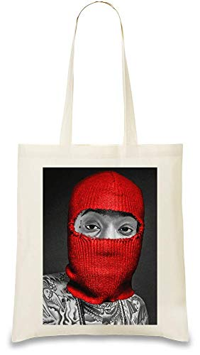 Wiz Khalifa Rote Maske Weed Dope Swag Thug Red Mask Weed Dope Swag Thug Custom Printed Tote Bag| 100% Soft Cotton| Natural Color & Eco-Friendly| Unique, Re-Usable & Stylish Handbag For