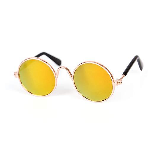 Beofine Pet Sonnenbrille Metallrahmen Brillenschutz Sonnenbrille Niedliche runde kleine Hundekatze Sonnenbrille für Haustierzubehör,Yellow