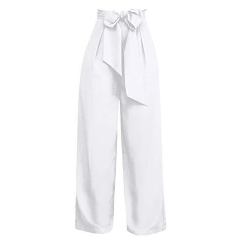 OrchidAmor Palazzo Damen Hose, Weite Beine, hohe Taille, Schnürung, lose Culottes - Weiß - Klein (Dead Mickey Kostüm)
