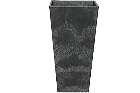 Artstone Pot de fleurs, Bac à plante Ella, résistant au gel et ultraléger, Noir, 40x90cm