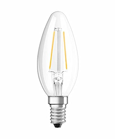 NEOLUX 4052899970236 Clear Warm Filament Style Classic Mini Candle Shape LED Lamp with Screw Base, Glass/Plastic, White, E14, 4 W, 2700