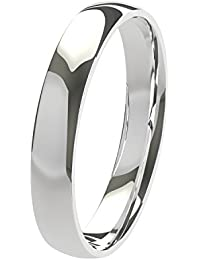 Nuevo sólido Argentium plata 3mm Heavy Court de confort Fit Unisex anillo de boda banda disponibles en todos los tamaños de H–Z + 3| fabricado en el Reino Unido. & Hallmarked
