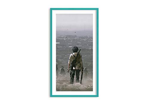 Bild im blauen Holzrahmen - Bild im Rahmen - Bild auf Leinwand - Leinwandbilder - Breite: 65cm, Höhe: 120cm - Bildnummer 4101 - zum Aufhängen bereit - Bilder - Kunstdruck - F1CPA65x120-4101