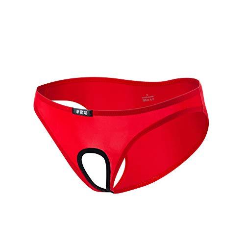 Tianyifeng Europa und die Vereinigten Staaten Unterwäsche Großhandel Männer sexy Ice Silk Briefs Hohle Versuchung seidig sexy Unterwäsche rot 2 Stück XXL