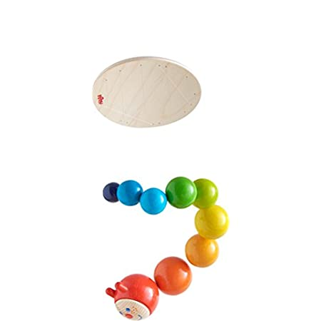Haba 303530 – Mobile Raupe Mina | Mobile aus Holz in Regenbogenfarben mit süßem Raupenkopf | Baby-Spielzeug aus der Serie Raupe Mina