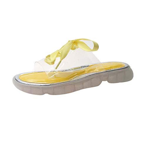 Mitlfuny Damen Sommer Sandalen Bohemian Flach Sandaletten Sommer Strand Schuhe,Damenmode transparente Hausschuhe einfarbig Band Hausschuhe Casual Slip