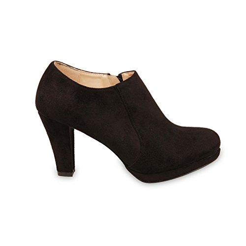 La Modeuse - Low boots en simili daim à talons Noir