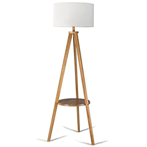 Lampadaire, Salon Simple Modern Nordic Bedroom Vertical Table Lamp Américain Creative Wood European Coffee Table Lights (Couleur: Black Walnut + lin) ( Couleur : A )