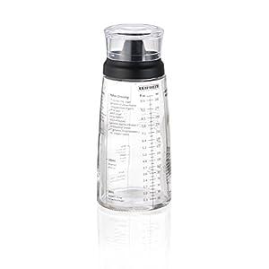 Leifheit Dressing Shaker, hochwertige Glasflasche mit verschiedenen Rezepten für Salatdressings, Messbecher mit tropffreien Ausguss, spülmaschinengeeigneter Dressingbehälter