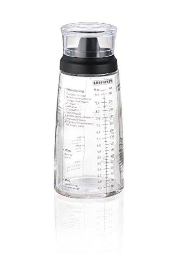 Leifheit Dressing Shaker, hochwertige Glasflasche mit verschiedenen Rezepten für Salatdressings, Messbecher mit tropffreien Ausguss, spülmaschinengeeigneter Dressingbehälter (Tupperware-shaker-flasche)