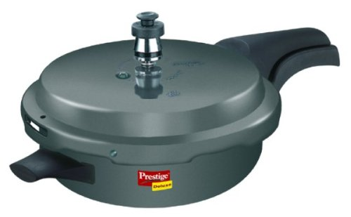 Prestige Deluxe Plus Junior Pan Induction Base Hard Anodized Pressure Cooker, 6 Litres, Black  available at amazon for Rs.2585