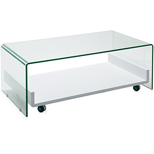 Belssia Mesa, Vidrio, Transparente, 110x43x60 cm