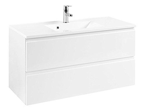 """Waschtisch Waschplatz Waschbeckenunterschrank Unterschrank Schrank Bad """"Cleo I"""" (Korpus-weiß/Front-weiß-Hochglanz, 100 cm)"""