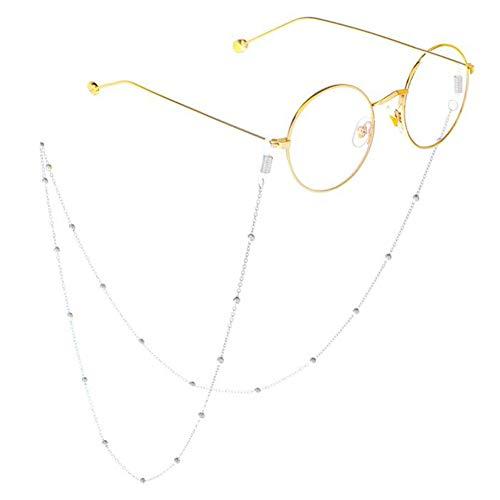 1X Toruiwa Brillenkordel Brillenband Brillenkette mit Gummikopf aus Kupfer für Brillen Sonnenbrillen Lesebrille Sportbrille 80cm (Silber)