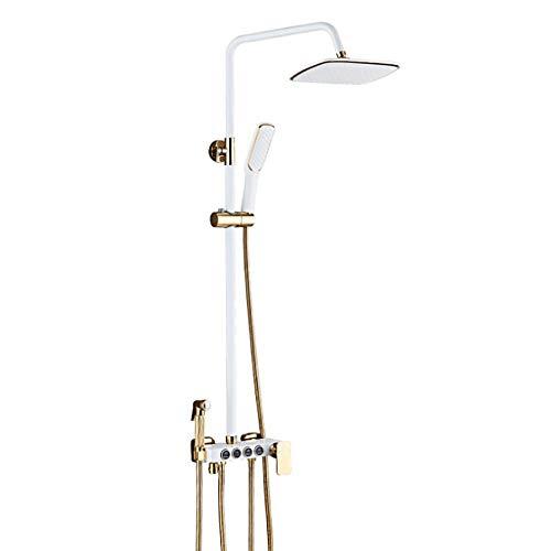 Preisvergleich Produktbild ZHBH Duschsystem Regendusche Eckig Duschpaneel Duscharmatur Duschset inkl. Überkopfbrause Handbrause Regenbrause Duschsäule mit Handbrause inkl. Duschstange