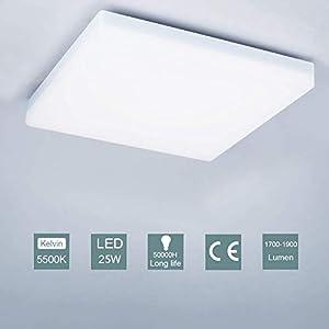 LED Ceiling Light,25W Modern Square Flush Ceiling Lights Daylight White for Living Room Kitchen Bathroom Bedroom Hallway