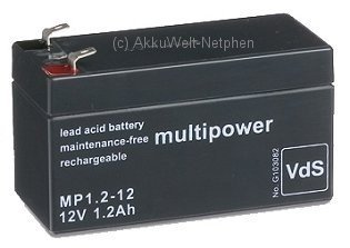 Preisvergleich Produktbild Multipower Bleigelakku/ Blei Gel Akku/ 12V/ 1,2Ah/ MP1.2-12/ VRLA Batterie/ Wartungsfrei/ Betriebsbereit/ hohe Zyklenfestigkeit