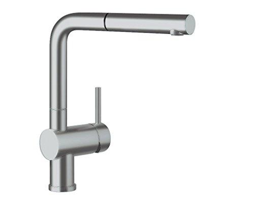 Preisvergleich Produktbild Blanco Linus-S Küchenarmatur - Einhebelmischer mit ausziehbarer Schlauchbrause, metallische Oberfläche, chrom matt, Niederdruck, 1 Stück, 512201