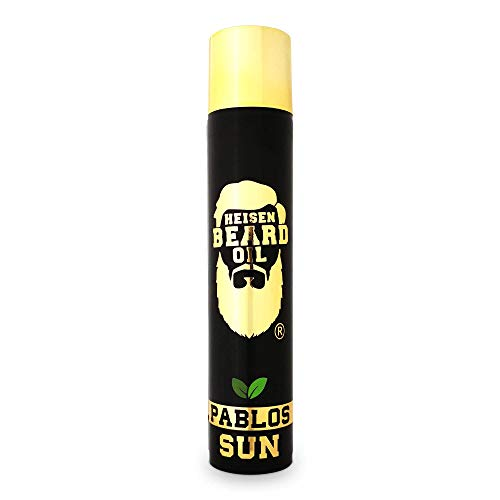 Heisenbeard 3 in 1 Bartöl 50 ML - Duftsieger 2019 - Pablos Sun mit einem holzig/süßen Sommerduft - Bart Öl mit Designerduft für die optimale Bartpflege ab 3 Tage Bart bis Vollbart - 5 verschiedene Öle