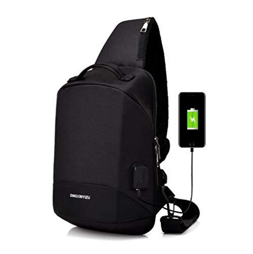 XHCP Mit USB-Ladegerät Brusttasche Männer Und Frauen Mehrschichtige Lagerung Im Freien Reiten Anti-Diebstahl Brusttasche Studenten Rucksack,Black