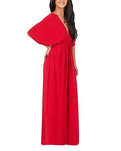 Elegante Donna Vestito Lungo Senza Schienale V Neck Lungo Abito Da Sera Rosso