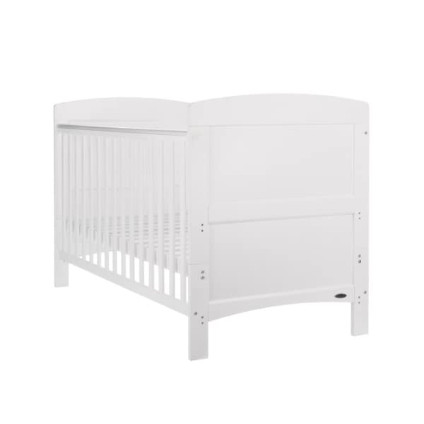 Obaby Grace Cot Bed and Dual Core Breathable Mattress - White Obaby Stylish and contemporary design that fits in with any nursery Adjustable 3 position mattress height, bed ends split to transforms into toddler bed Protective teething rails along both side rails, suitable from birth to approximately 4 years 3