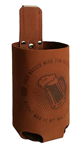 Bierholster Hopfen & Malz 0,5l - Das Original aus echtem Leder - Bier Bierhalter Bottlebag Flaschenhalter