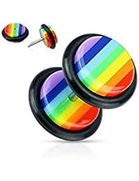 Falso piercing dilatador, acero y acrílico, diseño de arcoíris, ...