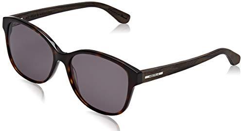 Wood Fellas Damen Sunglasses Basic Wallerstein Sonnenbrille, blue mirror/black/walnut, 56