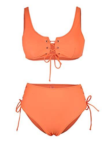 SIDEFEEL Damen Bikini-Set mit Schnürung, hohe Taille, zweiteilig, Badeanzug - Orange - Medium - 2