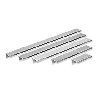 Gedotec Möbelgriffe Edelstahl Griffleiste Modell SKY für Holzladen & Schubladen | Bohrabstand 240 mm | Küchengriffe Aluminium Edelstahl-Optik | 10 Stück