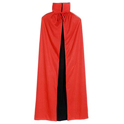ruiruiNIE Erwachsene Kinder Unisex Kapuze Stehkragen Vampir Mantel Halloween Doppelschicht Reversible Cape für Party Supplies Cosplay Kostüm - 2 Stehkragen (Erwachsene)
