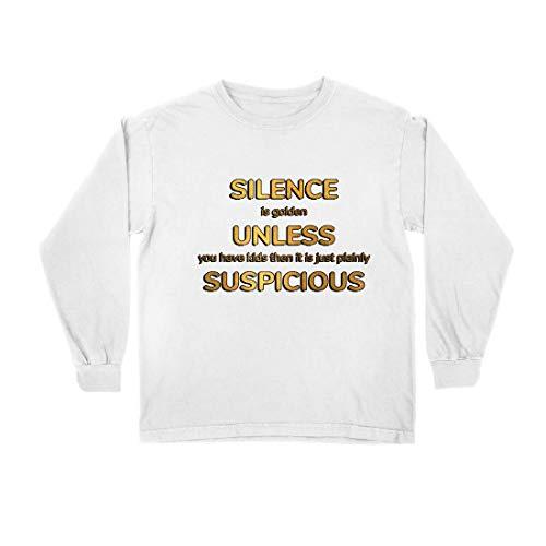 lepni.me Kinder-T-Shirt mit Langen Ärmeln Schweigen ist Gold. Es sei denn, du hast Kinder. Familienangebot (14-15 Years Weiß Mehrfarben) (Liebe Beute-shirt Ich)