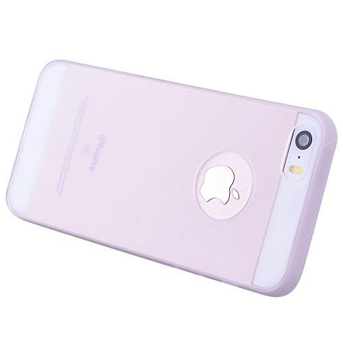 Dexnor Cover per iPhone 5 Custodia iPhone 5S Caso iPhone SE Candy Case, Durevole Silicone Soft TPU Gel Morbido Sottile Protettiva Flessibile Bumper Back Cover Gomma Slim Protezione Posteriore Protecto Transparent/ Bianco