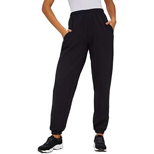 Damen Athletic-hose (SEMIR Damen Casual Athletic Jogger Hosen Kordelzug Taille Jogginghose Trainingsanzug Bottoms mit Taschen Schwarz L)