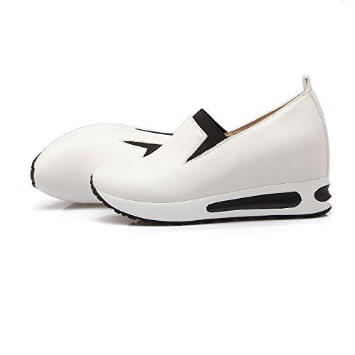 VogueZone009 Femme Tire Pu Cuir Rond à Talon Correct Couleur Unie Chaussures Légeres Blanc