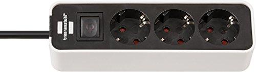 Brennenstuhl Ecolor Steckdosenleiste 3-fach (Steckerleiste mit Schalter und 1,5m Kabel) weiß/schwarz 3-fach