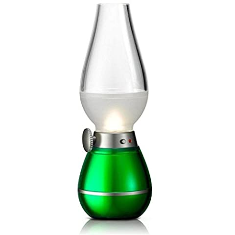 Dimmable Acrylic ABS Blowing Control Lamp - USB Rechargeable Cordless Wireless LED Night Light Candle Lamp, Creative Innovative Kerosene Oil Lamp Design with Dimmer Control Key, for Indoor & Outdoor Use, Nightlight, Reading Lights, Romantic Dinner, Outdoor Camping, Fishing, Decoration Green