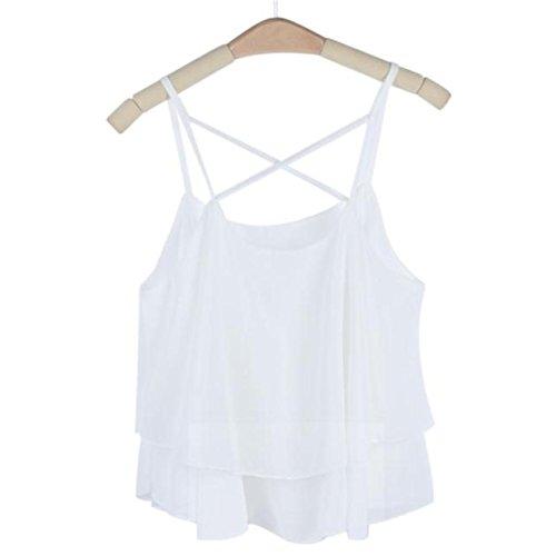 CYBERRY.M Femme Fille Sans Manches Bretelles Plage Débardeur Vest T-shirt Blanc
