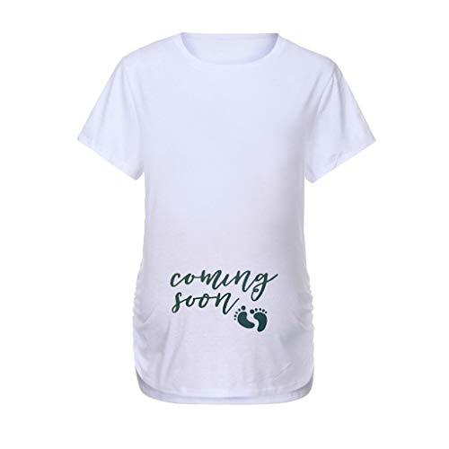 UFODB Umstandsmode Damen Schwangerschaft Kurzarm Umstandsshirt Lustige Witzige T-Shirt mit Motiv Umstandskleid Kurzarm Tops O-Ausschnitt Shirt Übergröße Schwangerschaftsshirt Lotus Flower Dress