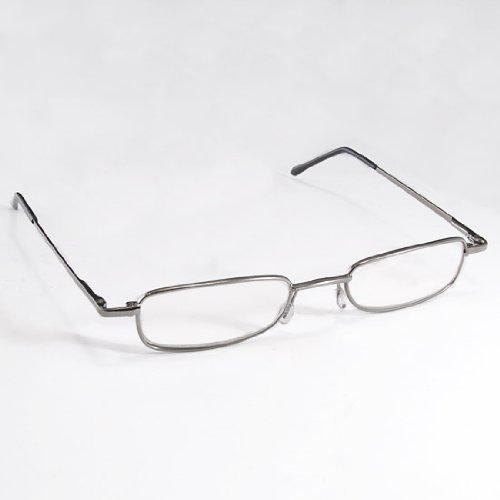 THG Lightweight Men Women Read Book Map Menu Gunmetal Reading Glasses Spectacles Portable Aluminum Eyeglasses Case +2.00