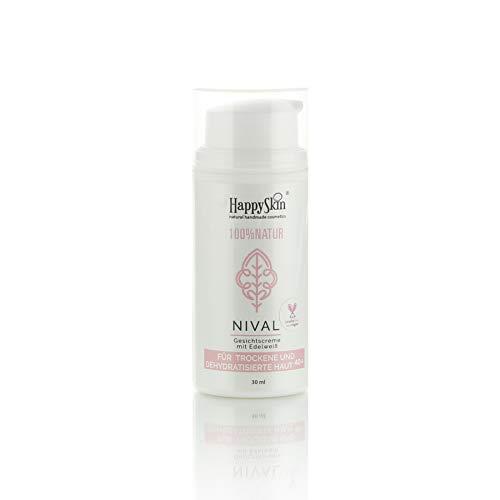 HappySkin NIVAL pflegende Gesichtscreme mit Edelweißextrakt, Jojoba und Vitaminen für Männer und Frauen ab 40+. Be Happy Skin!