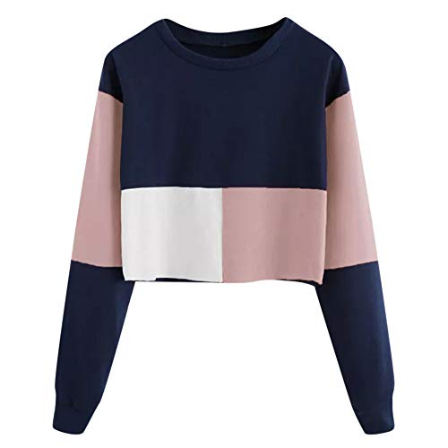iHENGH Sweatshirt Damen,Women Herbst Casual Color Patchwork Sweatshirt Long Sleeve Short Pullover Tops Blouse Shirt Top (Rosa,EU-40/CN-XL -