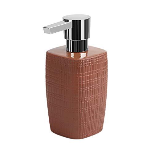 Einfache Installation Seifenspender 370Ml Schwarz Braun Weiß Keramik Seifenspender Haushalt Handseife Kreative Lotion Flasche Einfach zu erreichen (Color : Maroon, Größe : 15.5 * 7cm) -